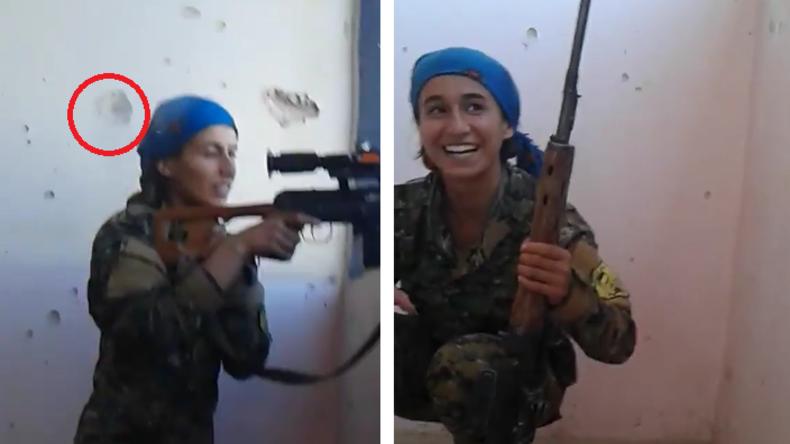 Sie lacht darüber - IS-Scharfschütze verfehlt den Kopf dieser kurdischen Kämpferin nur haarscharf