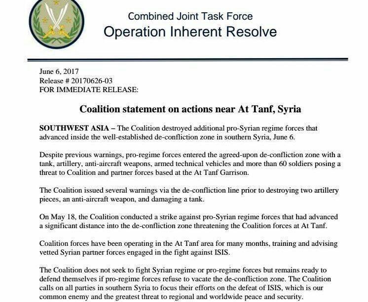 Pentagon: US-Koalition greift Pro-Regierungstruppen in Syrien an