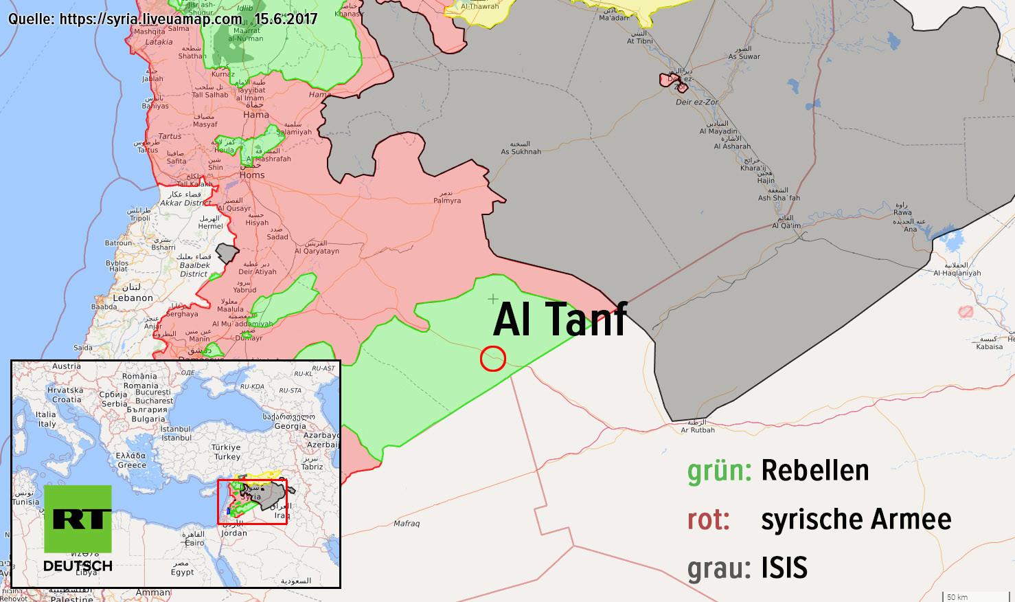 US-Koalition schießt erneut bewaffnete syrische Drohne unweit von US-Militärbasis in Südsyrien ab