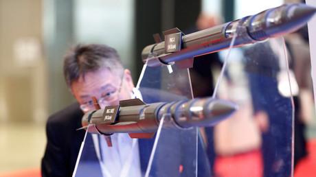 THAAD-Raketenmodelle bei einer Ausstellung in Tokio, Japan; 12. Oktober 2016.