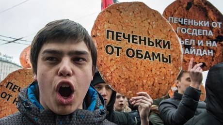 Demonstrationen vor dem Gebäude von Radio Liberty in Moskau, 2015.