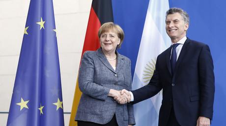 Angela Merkel und der argentinische Präsident Mauricio Macri bei einer gemeinsamen Pressekonferenz anlässlich seines Staatsbesuches im Juli 2016 in Berlin.