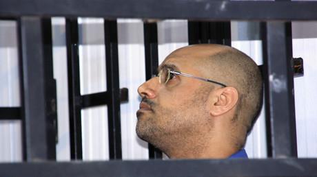 Saif al-Islam Gaddafi während der Gerichtsverhandlung in Zintan, Libyen, 25. Mai, 2014