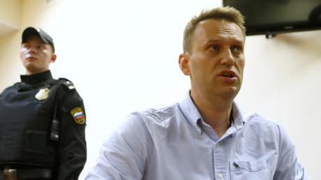 Alexej Nawalni während seiner kurzzeitigen Inhaftierung im Gespräch mit Journalisten, Moskau 12. Juni 2017.