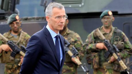 NATO-Generalsekretär Jens Stoltenberg besuchte am Dienstag seine Truppen in Stasenai, Litauen, 20. Juni 2017.