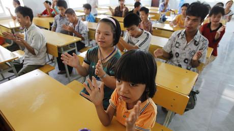 Opfer von Agent Orange in Na Dang Stadt, Vietnam, 16. Juni 2011.