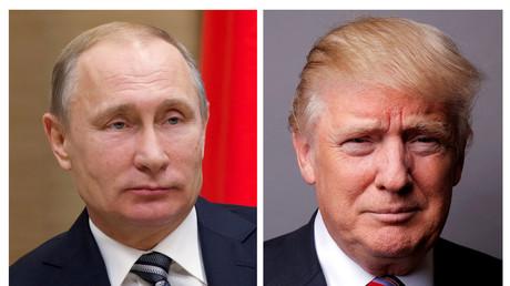 Nebeinandergestellte Archiv-Bilder des russischen Präsidenten Putin und des amerikanischen Präsidenten Trump.