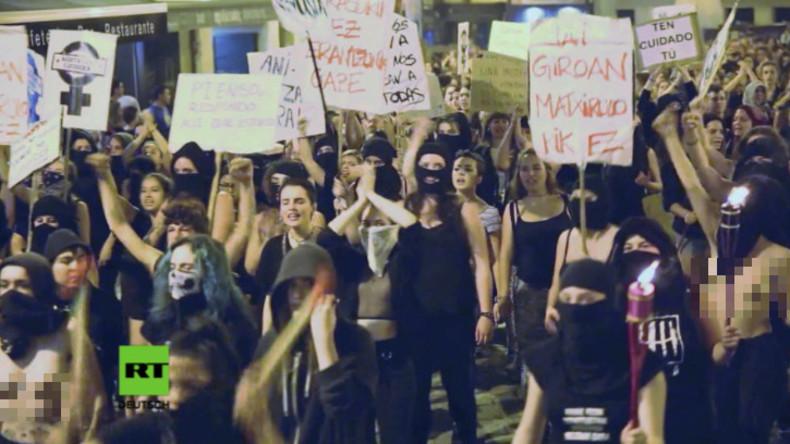 Spanien: Schwarzer Block - Frauenmarsch nach Vergewaltigungen und Übergriffen auf Festival