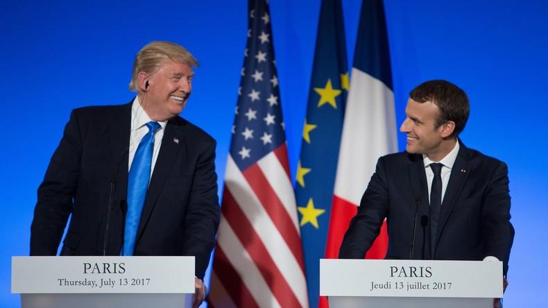 Macron begrüßt Trump zum offiziellen Besuch in Frankreich mit Aufstockung der Militärausgaben