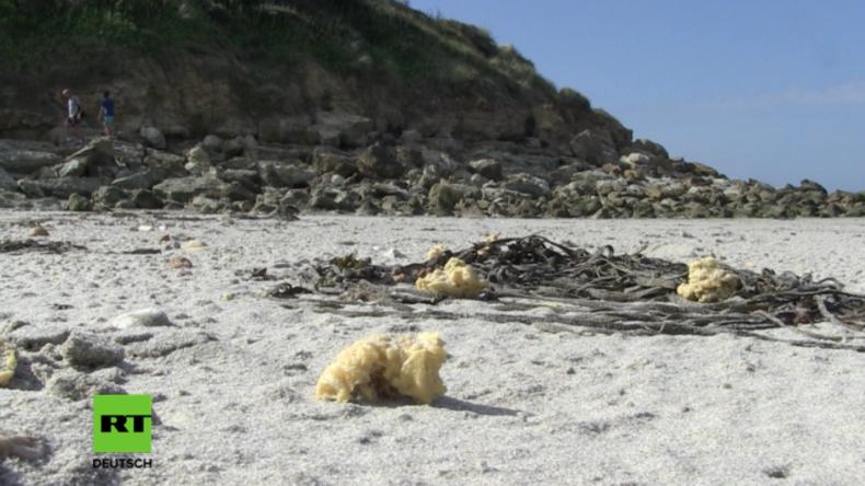 Was ist das?! - Nach Benzin stinkende, poröse gelbe Stücke an Frankreichs Opalküste angespült