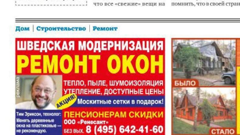 Martin Schulz macht Werbung für eine Moskauer Baufirma – oder doch nicht?