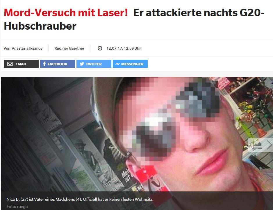 Kein politischer Hintergrund: Laser-Attacke gegen G20-Hubschrauber durch besorgten Familienvater
