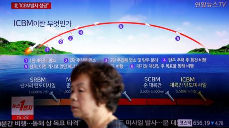 Das staatliche Fernsehen in Nordkorea zeigt die Flugbahn, die die Interkontinentalrakete genommen haben soll.