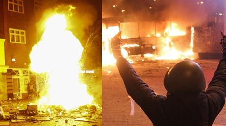 Ähnliche Bilder, unterschiedliche Wertungen: Links ein brennender Müllhaufen in Hamburg, rechts ein brennender Bus in Kiew.