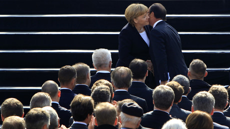 Auf dem Weg an die Spitze: Angela Merkel empfängt Francois Hollande in Ludwigsburg, September 2012.