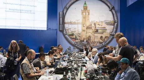 Blick auf das Pressezentrum des G20-Gipfels