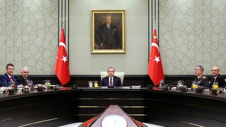 Der türkische Präsident Recep Tayyip Erdoğan während einer Sitzung des Nationalen Sicherheitsrates.