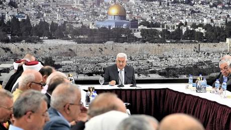Krisensitzung der palästinensischen Regierung mit dem Präsidenten Mahmud Abbas am 21. Juli 2017 in Ramallah.