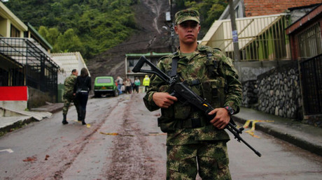 Ein Soldat im kolumbianischen Bundesstaat Manizales, 19. April 2017.