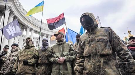 Auf den Straßen present: Demonstration der rechtsexstremistischen Organisationen am zweiten Jahrestag des Maidan-Massakers am 20. Februar 2016.