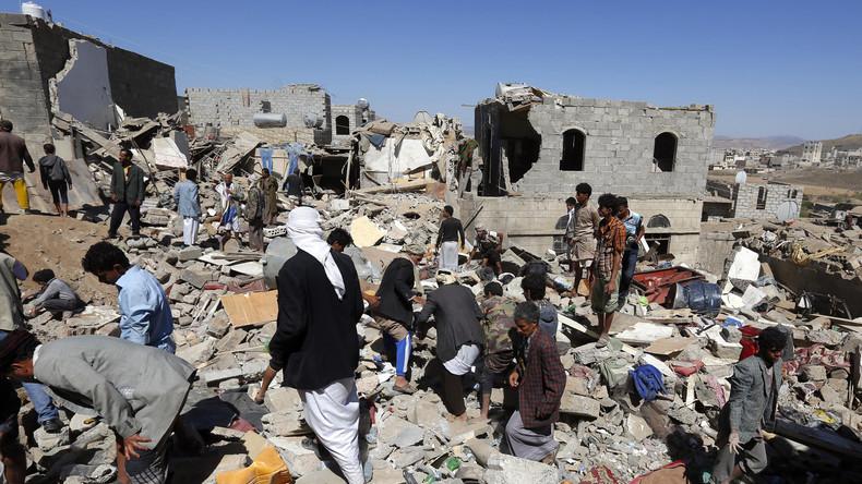 ACHTUNG VERSTÖRENDE BILDER. Nach Saudi-Angiff im Jemen: Leichen werden aus Schutt geborgen