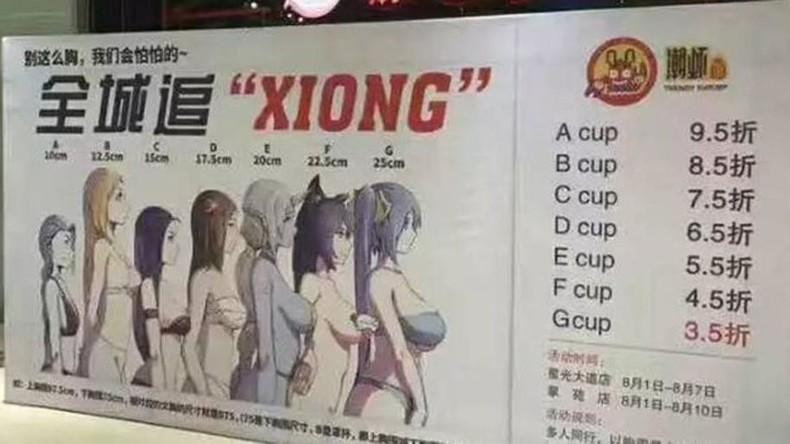 Je mehr Körbchengröße, desto mehr Rabatt: Chinesisches Lokal wirbt mit umstrittener Kampagne