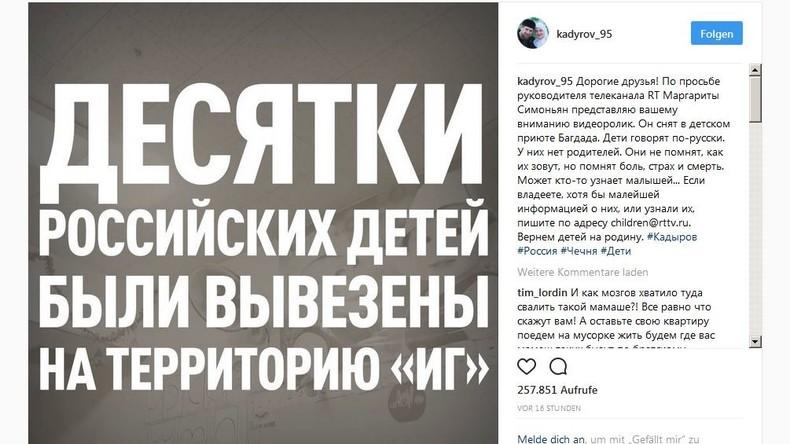 Russische IS-Waisenkinder in Mossul: Kadyrow veröffentlicht RT-Videoclip zur Suche nach Verwandten