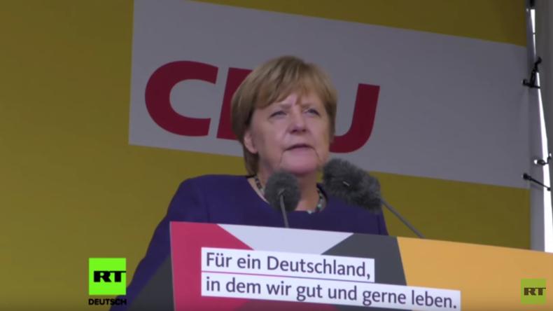 Merkels Wahlkampfrede in Gelnhausen trifft auf Buh-Rufe und Applaus