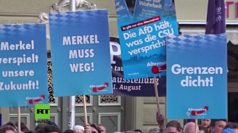 Wahlkampfauftritt von Merkel in Bayreuth: Laute Zwischenrufe und AfD-Plakate im Publikum