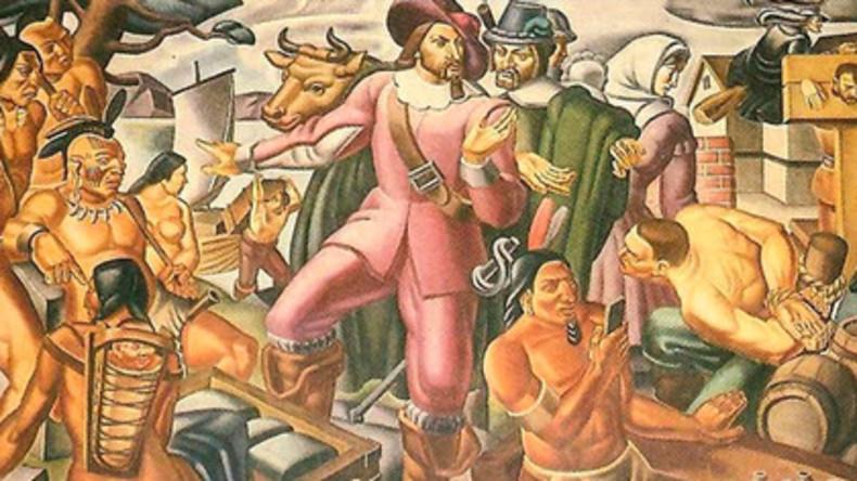 Twittert der Kerl etwa? - Indianer mit iPhone auf Freske aus dem Jahr 1937 abgebildet