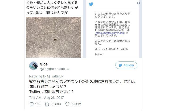 Japaner droht einer Mücke und wird auf Twitter für ewig gelöscht