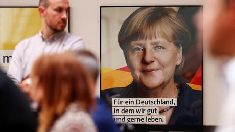 Wahlplakat für Bundeskanzlerin Merkel, Berlin, Deutschland, 7. August 2017.