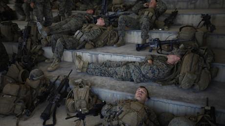 US-Soldaten ruhen sich nach einem Manöver mit südkoreanischen Soldaten im Rahmen des