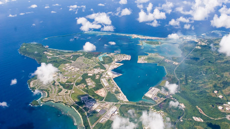 Luftbild der US-Marine Basis Guam, Marianen-Archipel