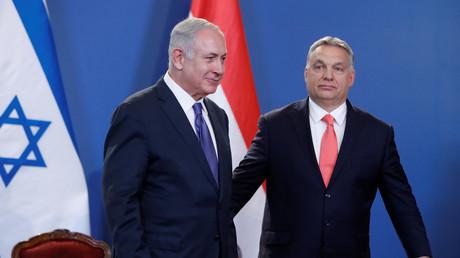 Viktor Orban und Benyamin Netanyahu bei einer Pressekonferenz in Budapest, Ungarn, 18. Juli 2017.