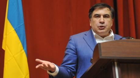 Ein Bild aus besseren Tagen: Michail Saakaschwilli als Gouverneur von Odessa auf einem Vortrag.
