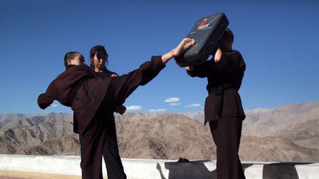 Indische Kung-Fu Nonnen trainieren in Ladakh, Indien, 17. August 2017.