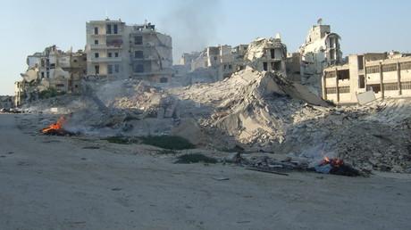 Die Ain-Jalut-Schule im Stadtteil Salaheddin in Aleppo wurde durch eine Sprengfalle der Dschihadisten komplett zerstört, August 2017.