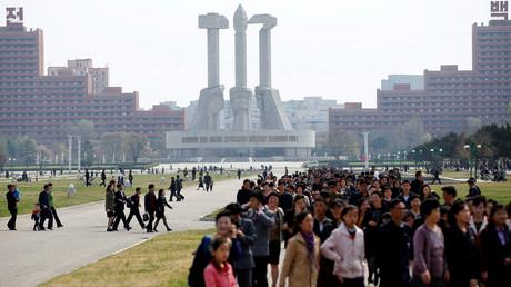 Platz in Pjöngjang, Nordkorea, 16. April 2017.