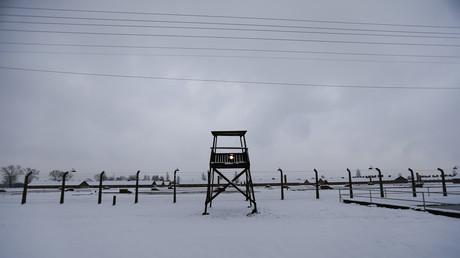 Ein Wachturm in Auschwitz-Birkenau, Polen, 26. Januar 2015.