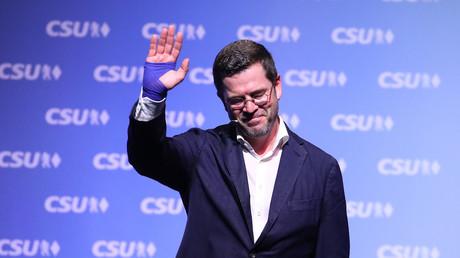 Karl-Theodor zu Guttenberg auf einer Wahlkampveranstaltung im fränkischen Kulmbach