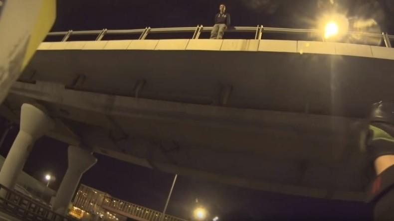 Motorradfahrer stoppt Verkehr, um Selbstmörder zu retten [VIDEO]