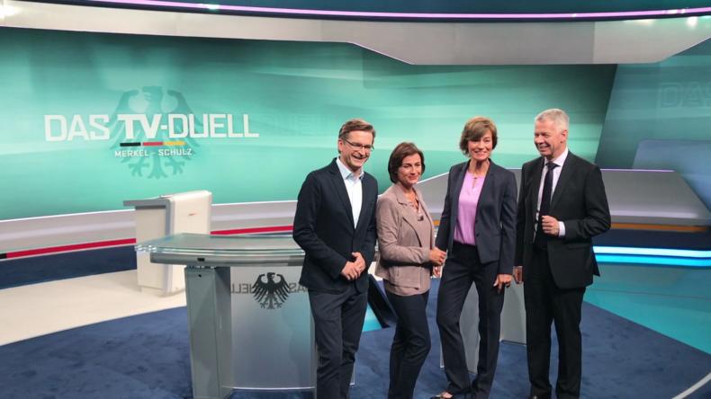 Vorschau auf TV-Duell der Kanzler-Anwärter - Pressekonferenz in Berlin-Adlershof