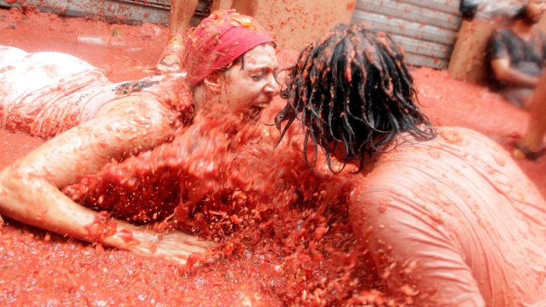 Essensschlacht der anderen Art: Tomatina im spanischen Dorf Bunol