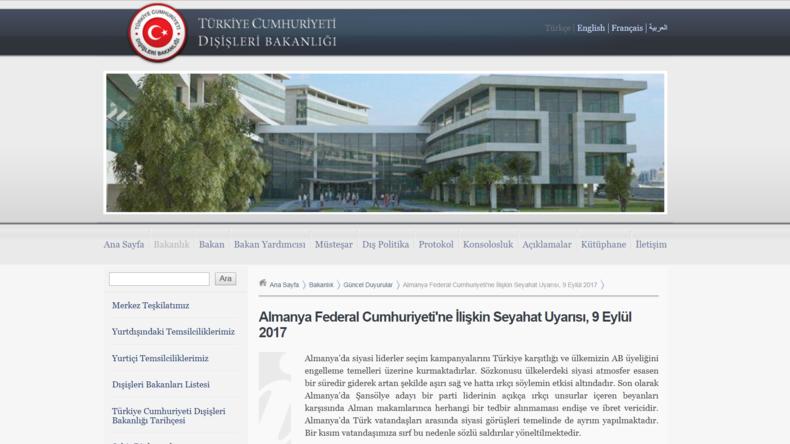 """Türkisches Außenministerium gibt """"Reisewarnung"""" für Deutschland heraus"""