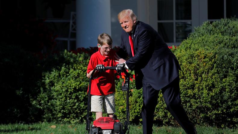 Guter Start für eigenes Business: Elfjähriger mäht für Trump den Rasen des Weißen Hauses [VIDEO]