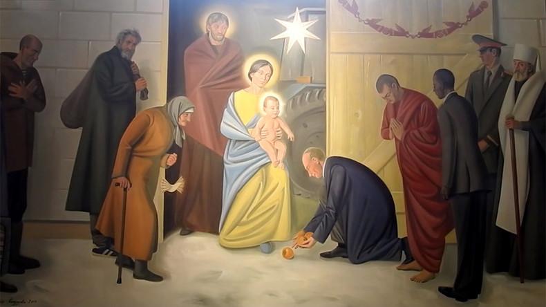 Putin, Obama, Dalai Lama: Freske in katholischer Kirche zeigt Weltführer als Heilige drei Könige
