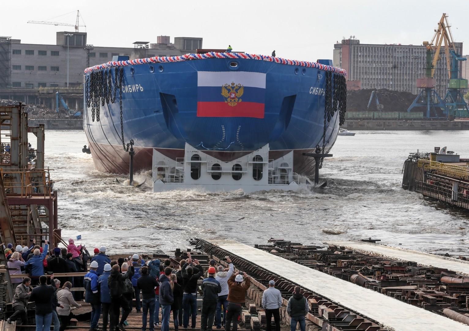"""König der Arktis: Eisbrecher """"Sibir"""" in Russland zu Wasser gelassen [FOTOS]"""