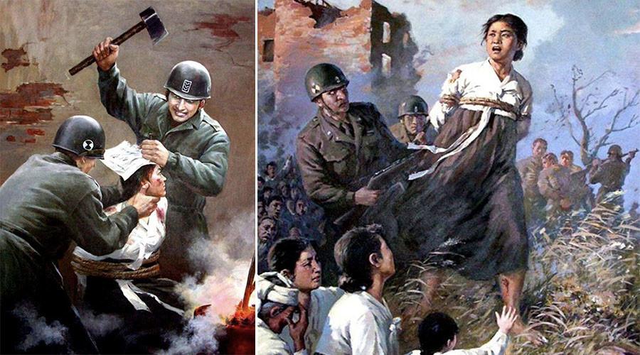 """Kannibalen und Mörder"" Pjöngjangs Anti-US Propaganda Poster"