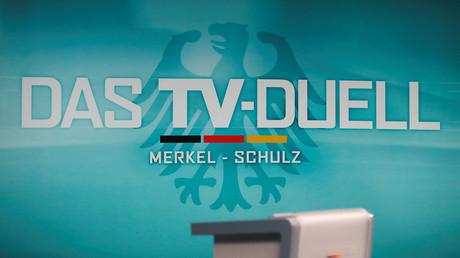 Beim TV-Duell begegneten sich Bundeskanzlerin Angela Merkel und ihr Herausforderer Martin Schulz.